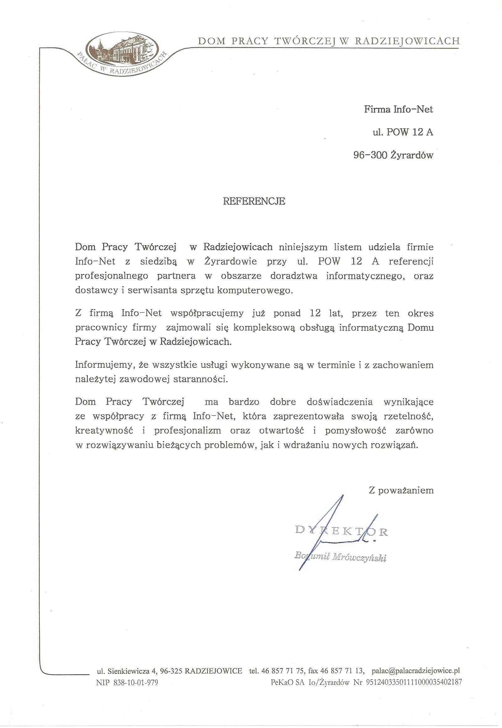 Pałac Radziejowice referencje